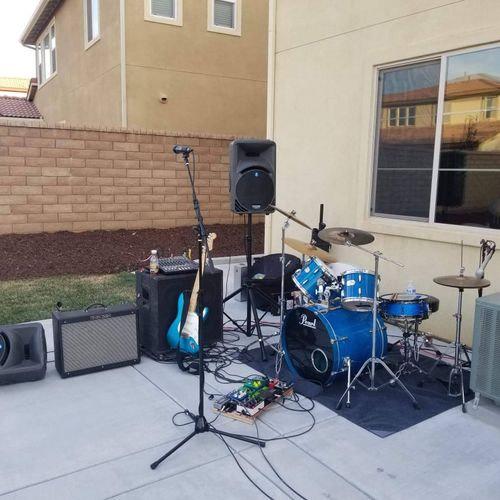 Set up for local gig.