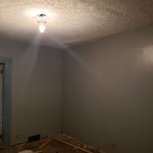 Dining room after texture and painting.