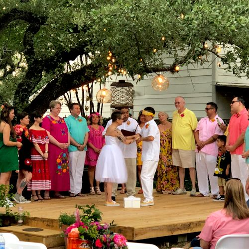 "Beautiful ""fiesta"" themed backyard wedding."