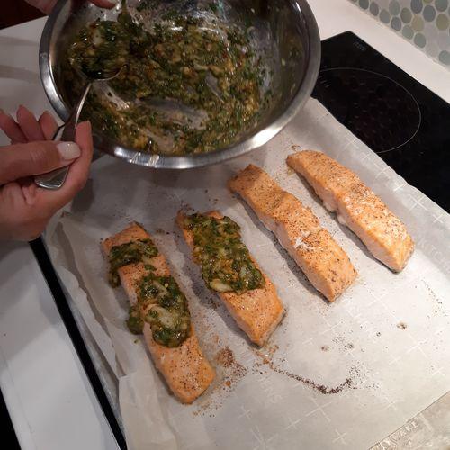 Private Cooking Class: Roasted Garlic Cilantro Glazed  Salmon