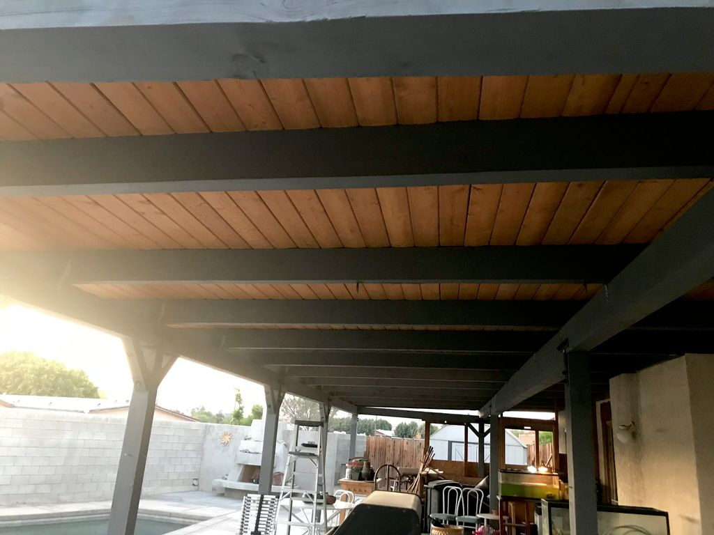 Exterior patio cover staining