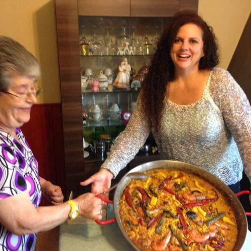 Learning to make Paella from a master.