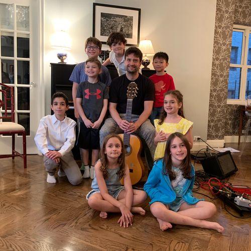 Young piano and guitar students at kids' recital!