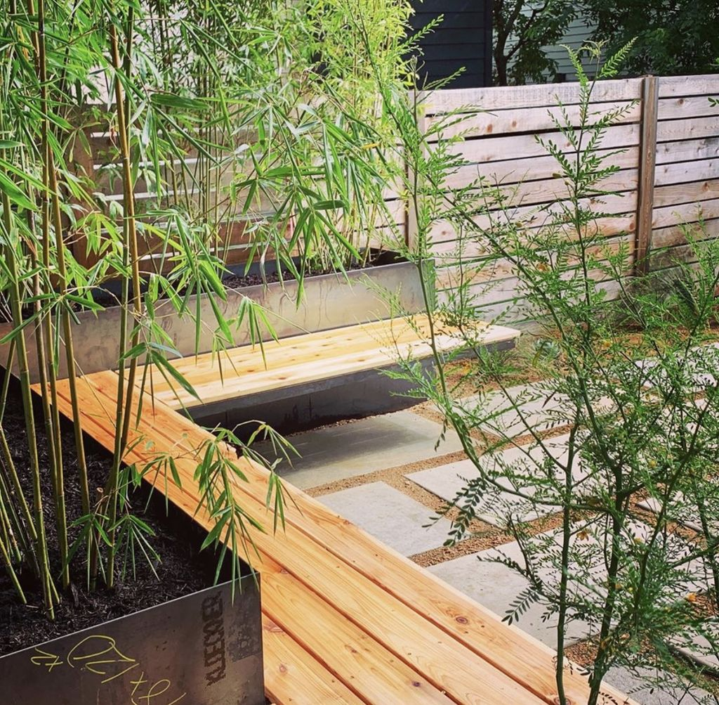 Steel planters, bench, limestone pavers patio