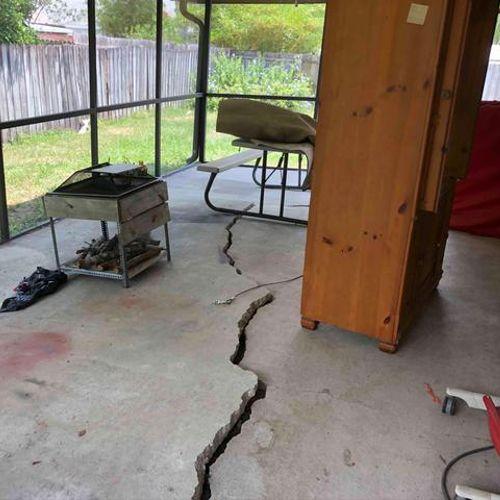Cracked & Sinking Patio Slab Before PolyRenewal