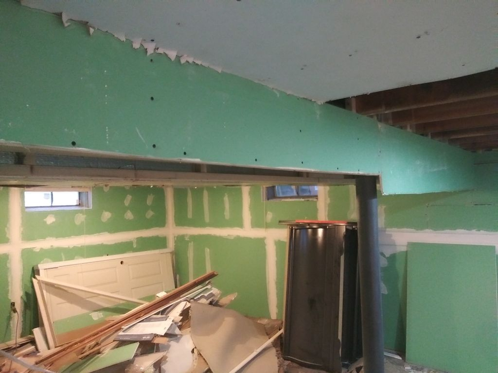 Drywall hanging in basement