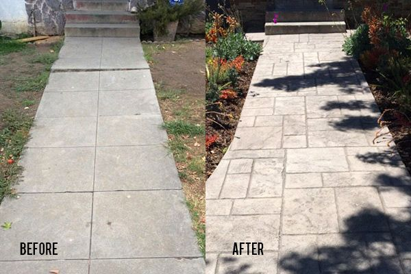 Newly Leveled and Stamped Concrete Walkway