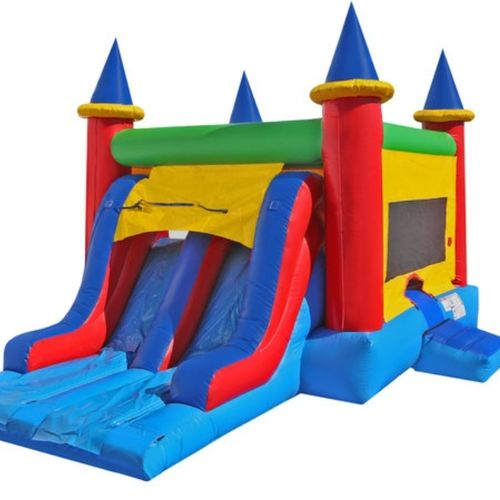 4-1 Dry/Wet Combo includes Large Bounce Area, Basketball Hoop, Climb, Slide & Detached Pool with Sprinkler.