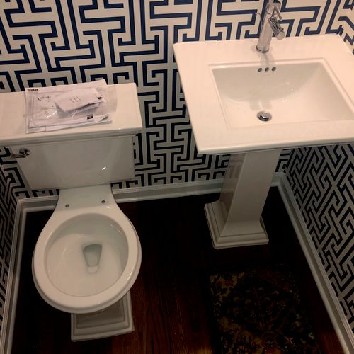 AFTER: Toilet and pedestal sink installation