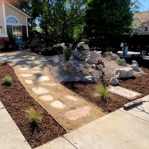 Front yard relandscape  Builders installation