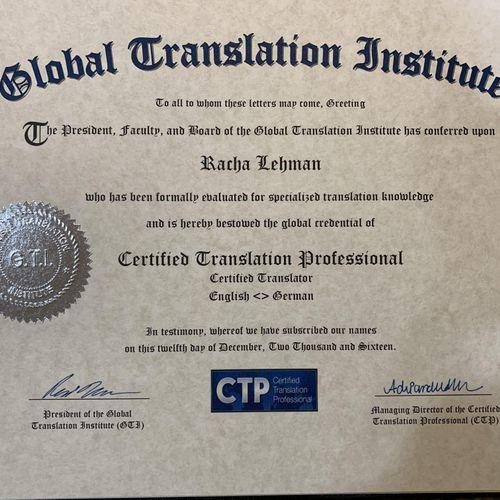 Certified Translation Professional