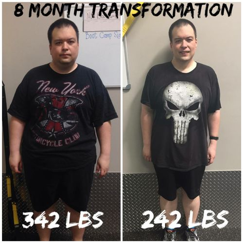 After 8 months of training, Brandon was able to drop 100 pounds and keep it off.