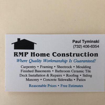 Avatar for Rmp home construction llc South Amboy, NJ Thumbtack