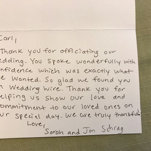 Nice thank you from Sarah and Jon