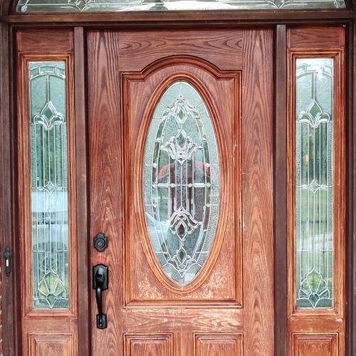 Fiberglass entry door before picture the door was worn and peeling