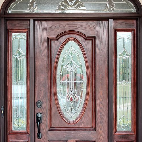 Fiberglass entry door after picture. It has been stained with gel stain that's made specially for fiberglass doors.