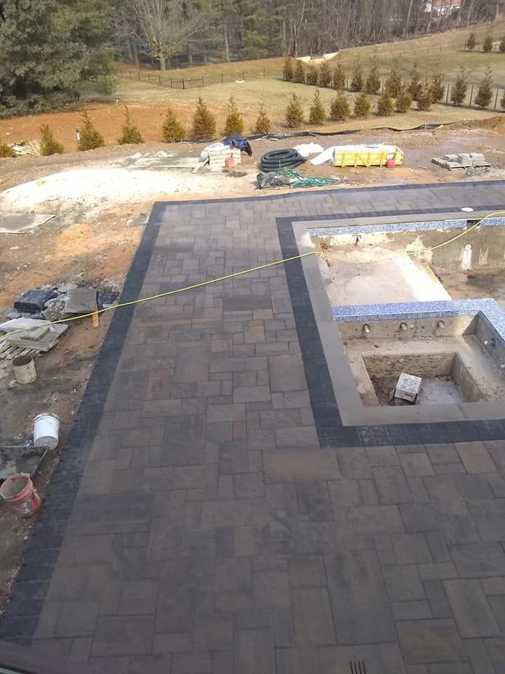 new construction around a pool