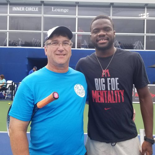 Hitting with Frances Tiafoe at the BB&T