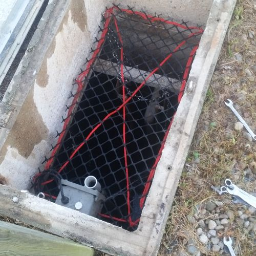 septic tank with pressure pump.