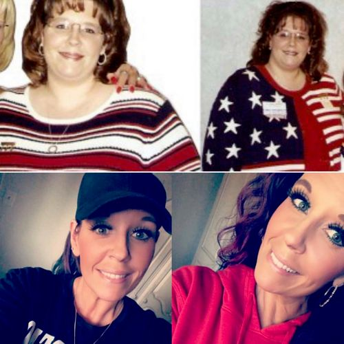 Me...before I got healthy and now. 190 pounds makes a big difference in appearance AND confidence. I love the person I've become.