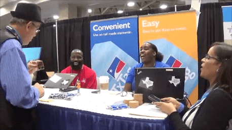 Performing Magic at the Texas Toll Tag booth at 2019 Great American Trucking Show in Dallas