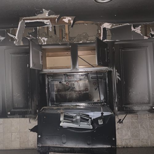 Kitchen fire prior to our arrival