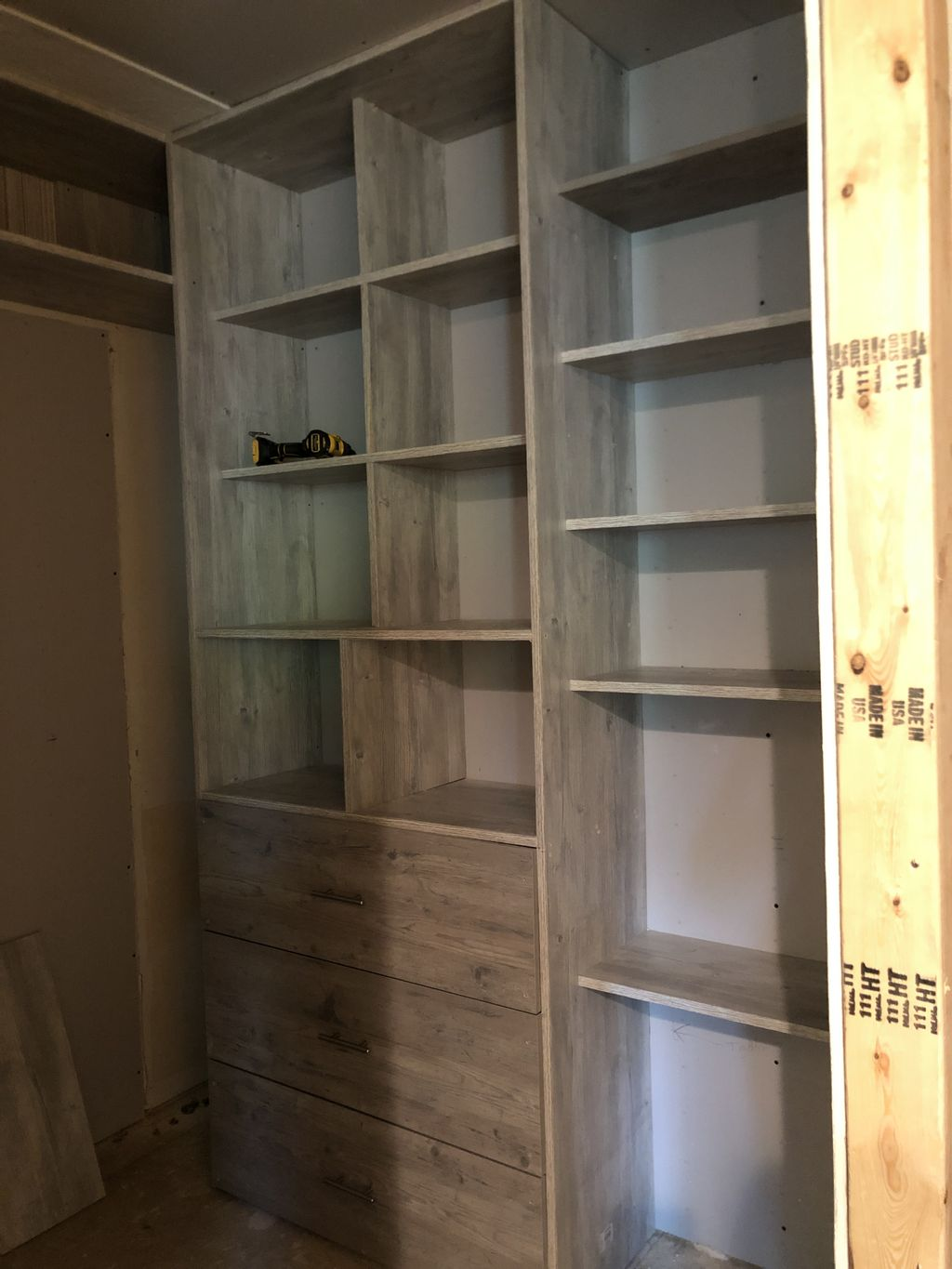 Full custom closet with attached vanity