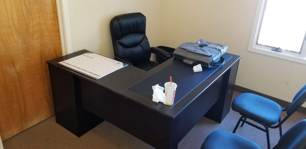 L Shaped Desk and Office Chair Assembly