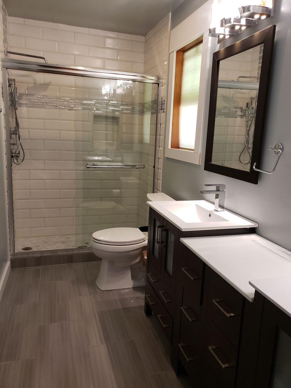 Issaquah 18 bathroom remodel subway tile