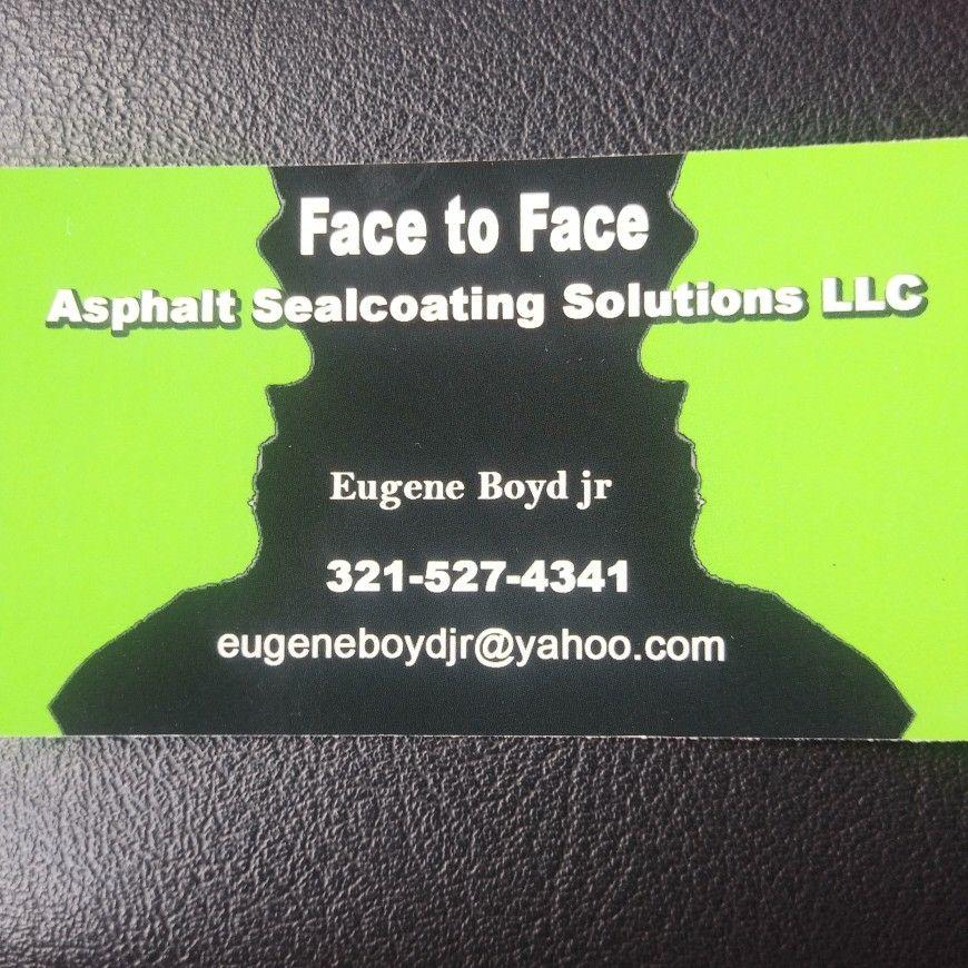 Face-to-face asphalt sealcoating Solution llc