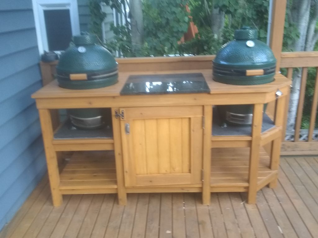 Double Big Green Egg Deck Table