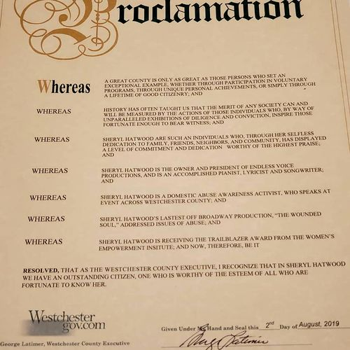 Proclamation from the Westchester County Executive