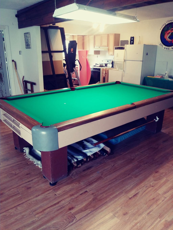 1950 Brunswick 9 Foot Pool Table