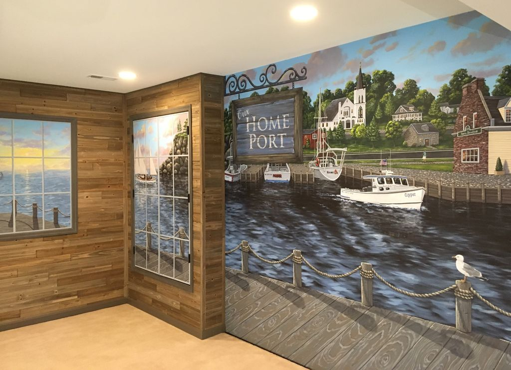 New England Harbor Town Mural throughout a lower level