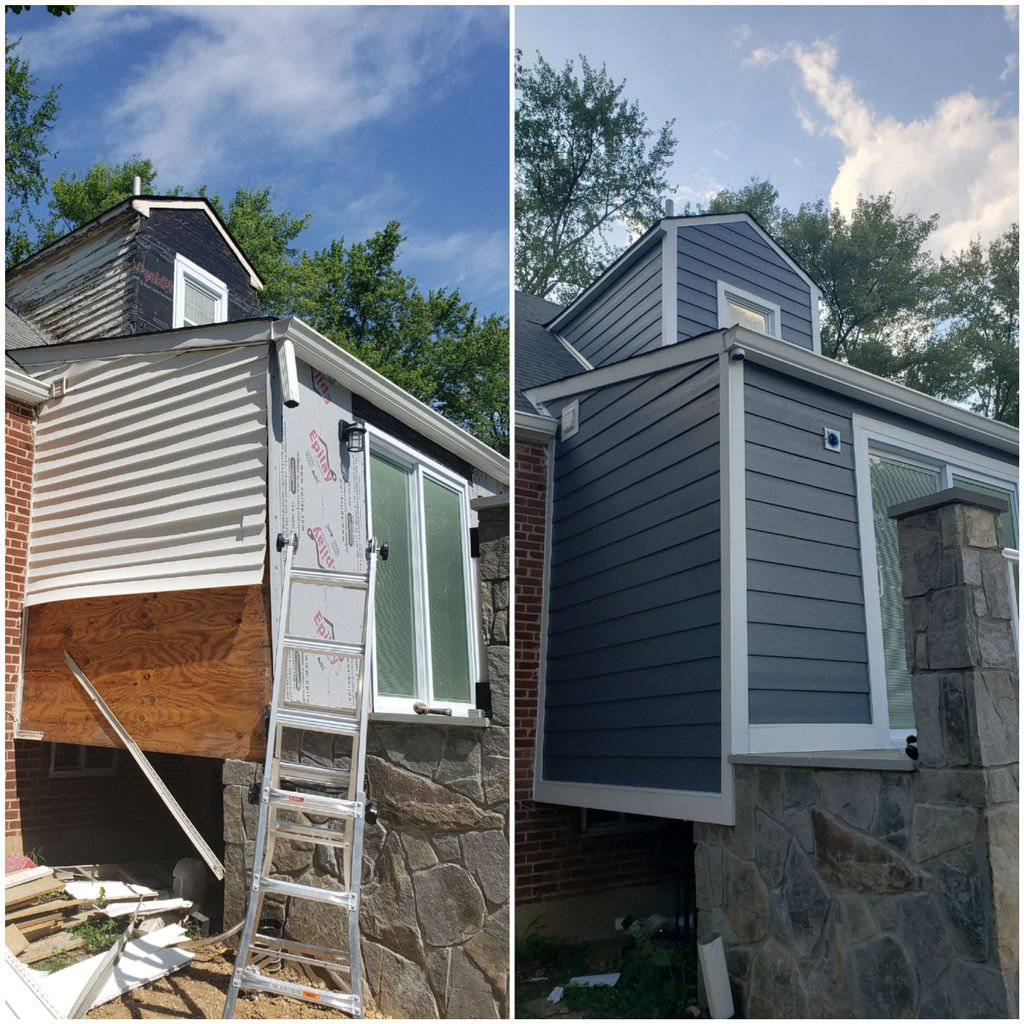 James Hardie Evening blue siding install