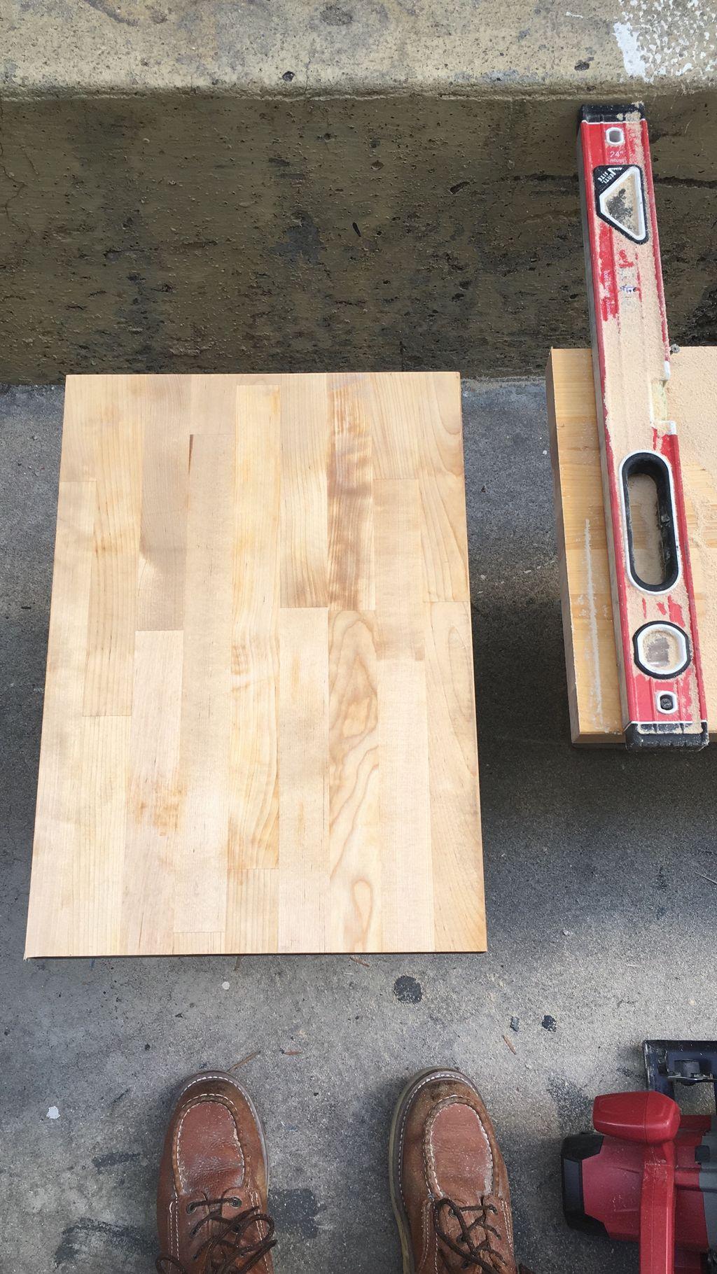 Custom floating shelves for standalone sink