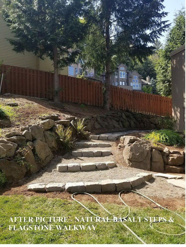Natural curbstone steps & flagstone walkway