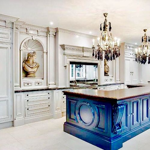 Amazingly beautiful kitchen, with a cobalt island