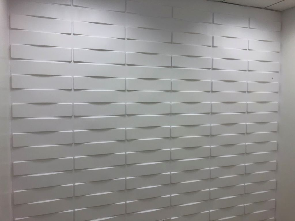 3d wall installation painting and caulk