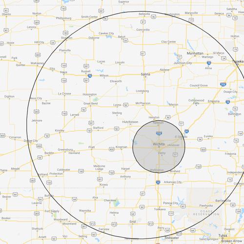 $1 per Mile each way range, outside of 30 mile radius around Wichita