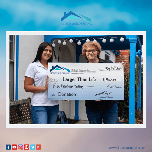 Here's our lovely customer in front of her newly renovated home in Huntington Beach! Your project can help a great cause!
