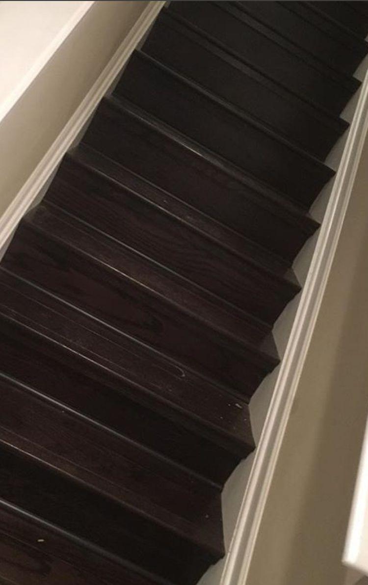 Engineered hardwood stair transformation
