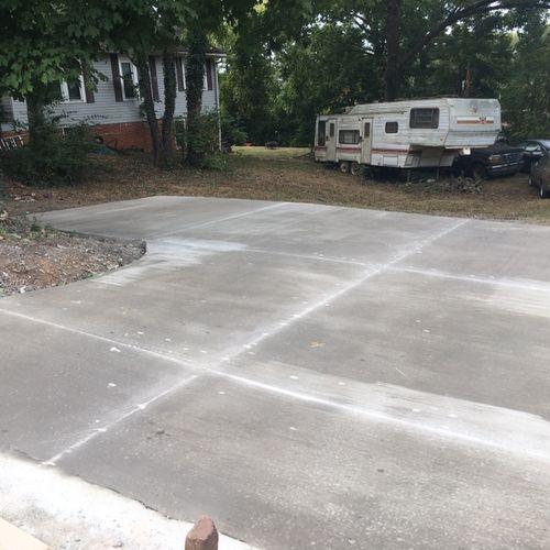 New driveway after saw cuts.