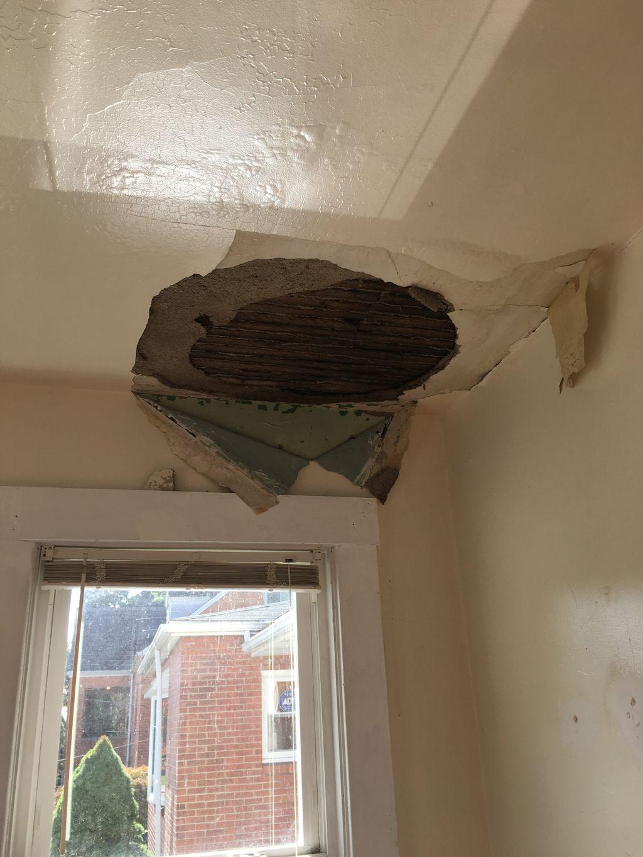 Roof repair plus plaster repair