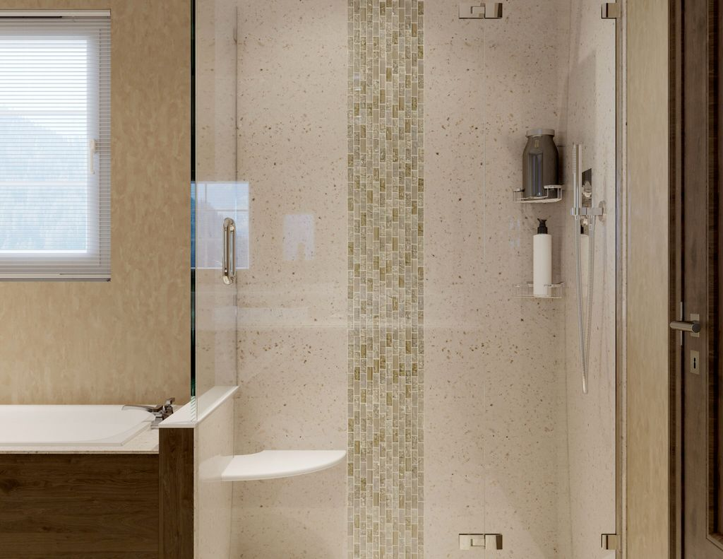 Solid Surface, not plastic, shower install with tile accent strip