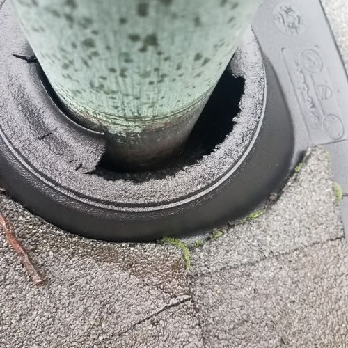 Roof inspection. Found broken vent roof boot. We Replaced with new and saved customer thousands in water damage.