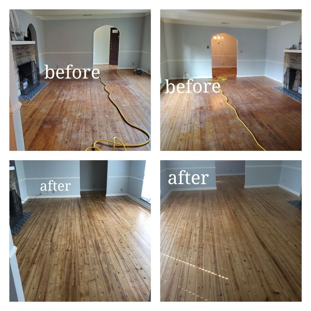 Complete sand and refinishing of old hardwood floors