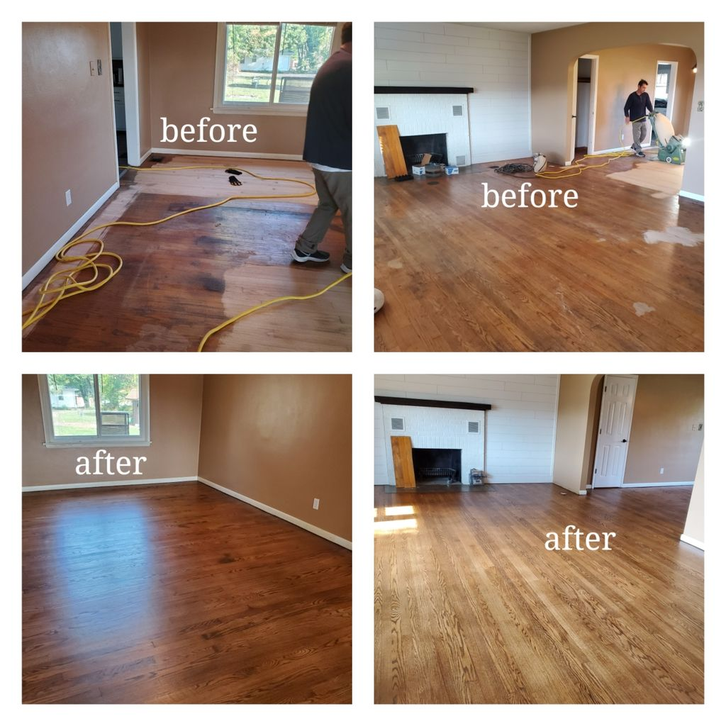 Complete sand and refinish with stain on red oak flooring