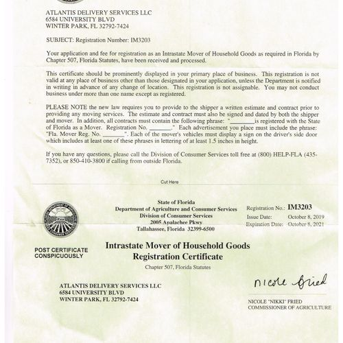 STATE OF FL MOVING BUSINESS LICENSE,
