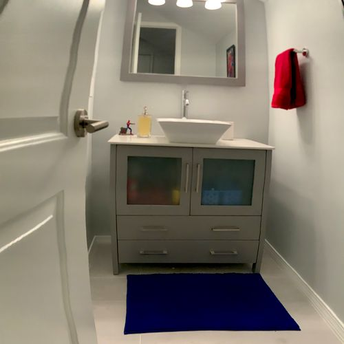 Attic Conversion Vanity with Light and Mirror